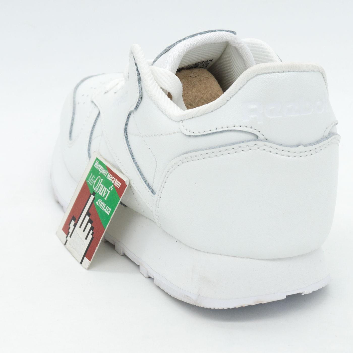 фото back Женские кроссовки Reebok classic leather white (Рибок класик белые, кожа) back
