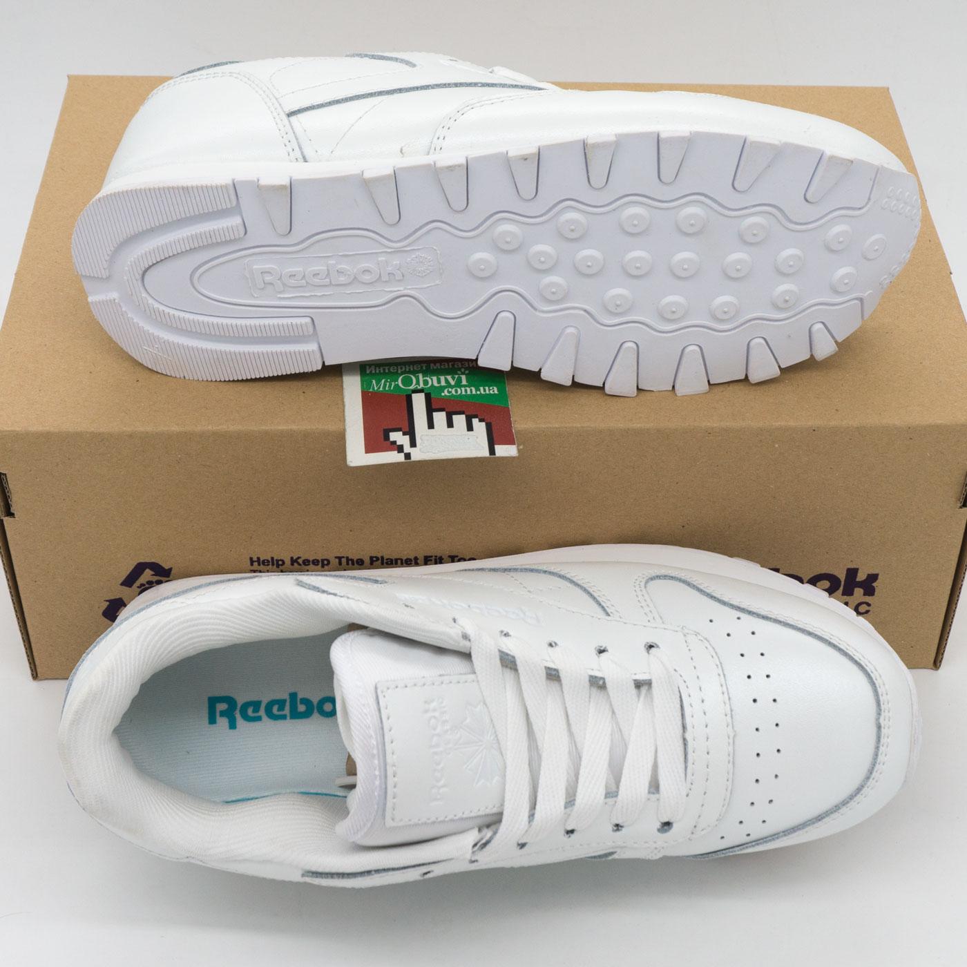 фото bottom Женские кроссовки Reebok classic leather white (Рибок класик белые, кожа) bottom