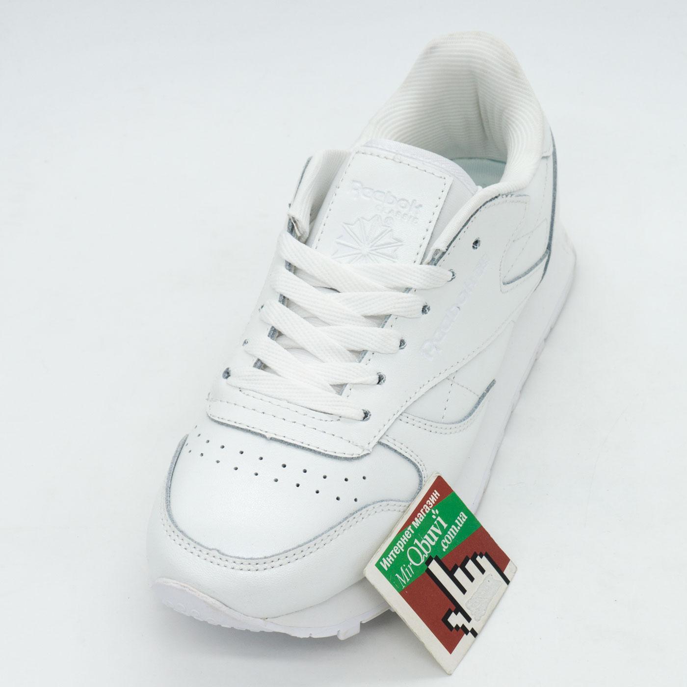 фото front Женские кроссовки Reebok classic leather white (Рибок класик белые, кожа) front