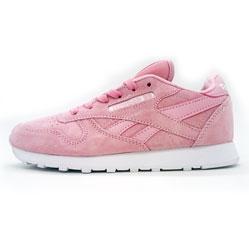 Женские кроссовки Reebok classic leather pink(Рибок класик розовые натуральная замша)
