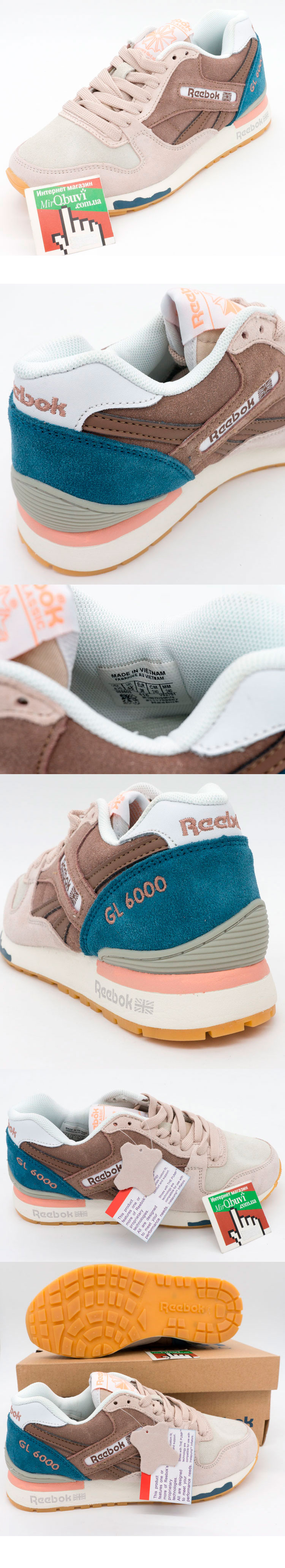 большое фото №5 Женские кроссовки Reebok GL6000 коричнево синие (натуральная замша)