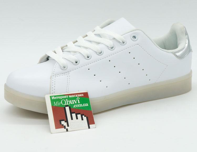 большое фото №5 Светящиеся кроссовки с пультом Led низкие белые Stan Smith