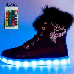 Зимние светящиеся кроссовки Led на меху - черные с пультом