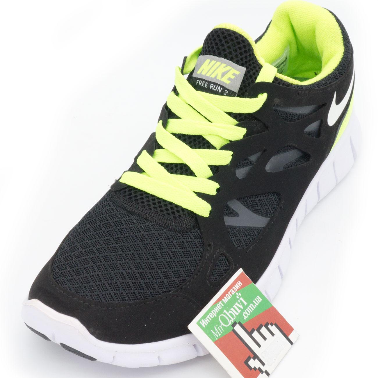 фото front Кроссовки для бега Nike Free Run 2 Найк Фри Ран, черно-зеленые front