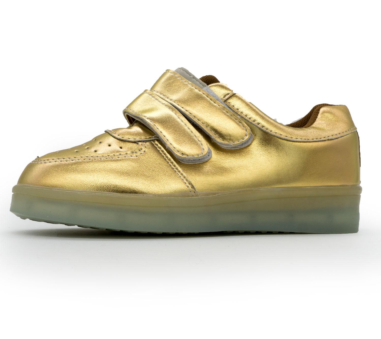 фото front Светящиеся кроссовки Led низкие золотистые на липучке front