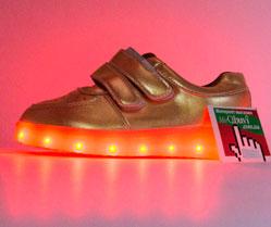Светящиеся кроссовки Led низкие золотистые на липучке