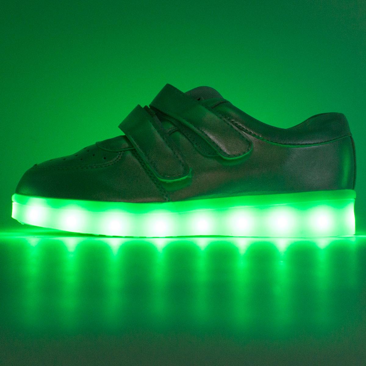 фото front Светящиеся кроссовки Led низкие серебристые на липучке front