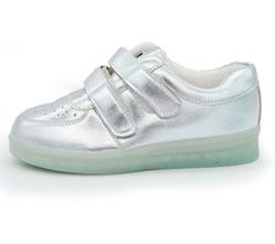 Светящиеся кроссовки Led низкие серебристые на липучке
