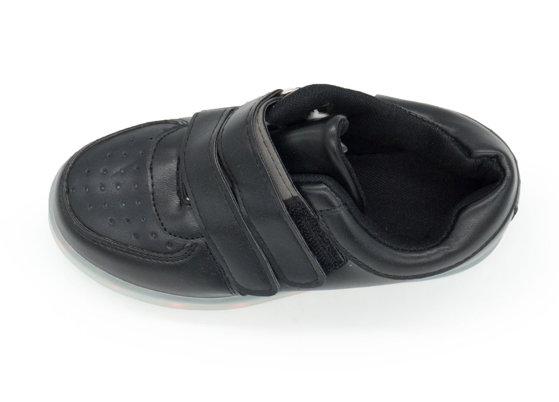 фото back Светящиеся кроссовки Led низкие черные на липучке back