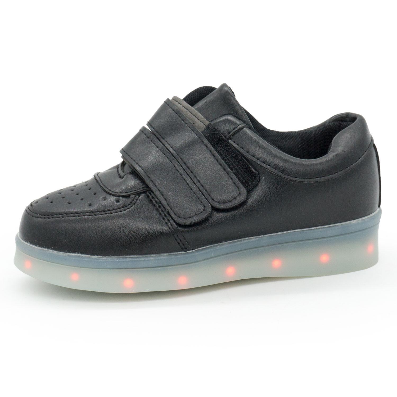 фото front Светящиеся кроссовки Led низкие черные на липучке front