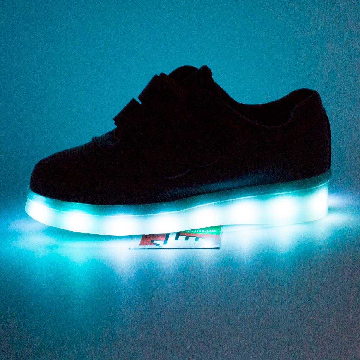 фото main Светящиеся кроссовки Led низкие черные на липучке main
