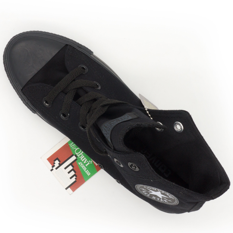 фото bottom Кеды Converse высокие полностью черные bottom