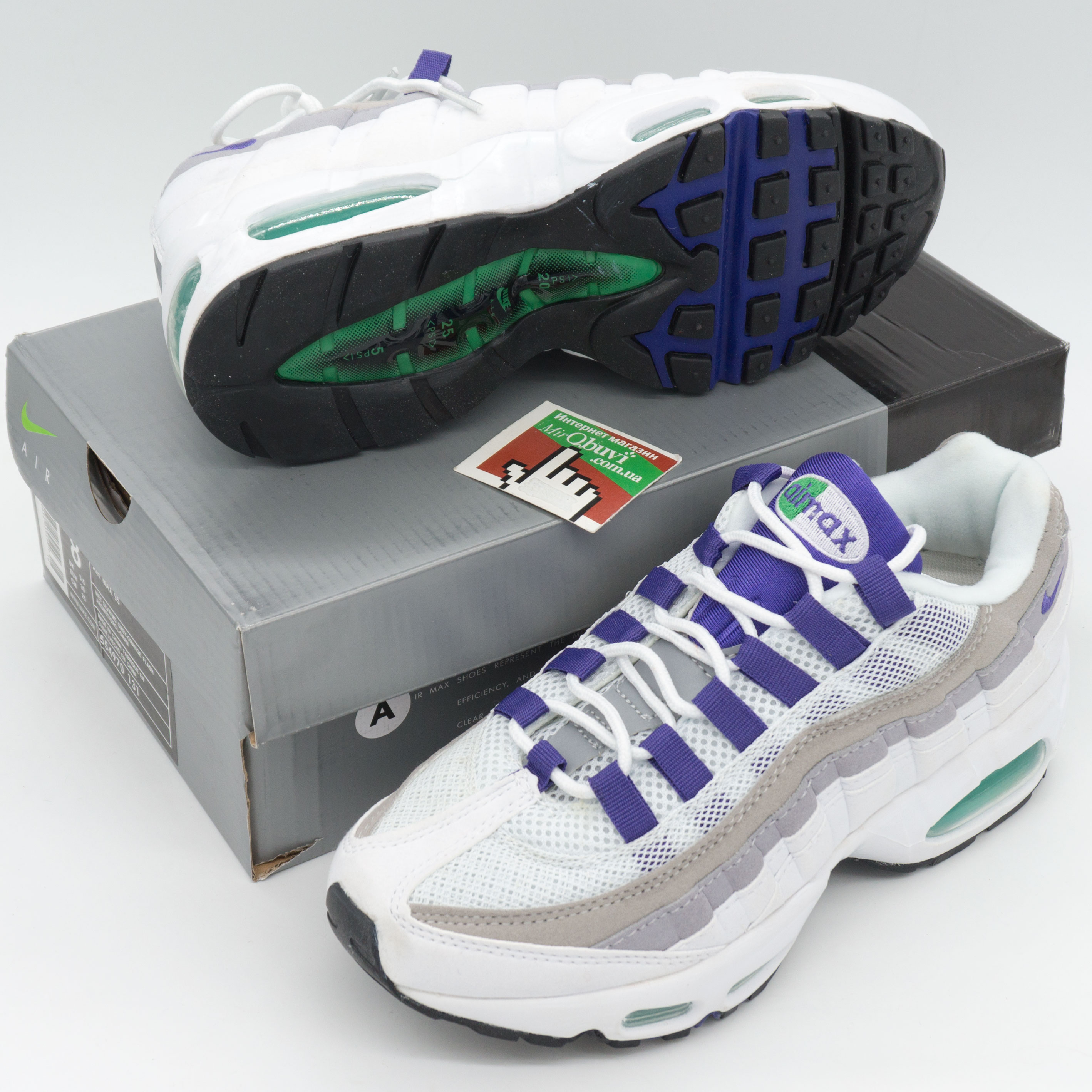 фото bottom Женские кроссовки Nike air max 95 бело-серо-фиолетовые. ТОП КАЧЕСТВО!!! bottom
