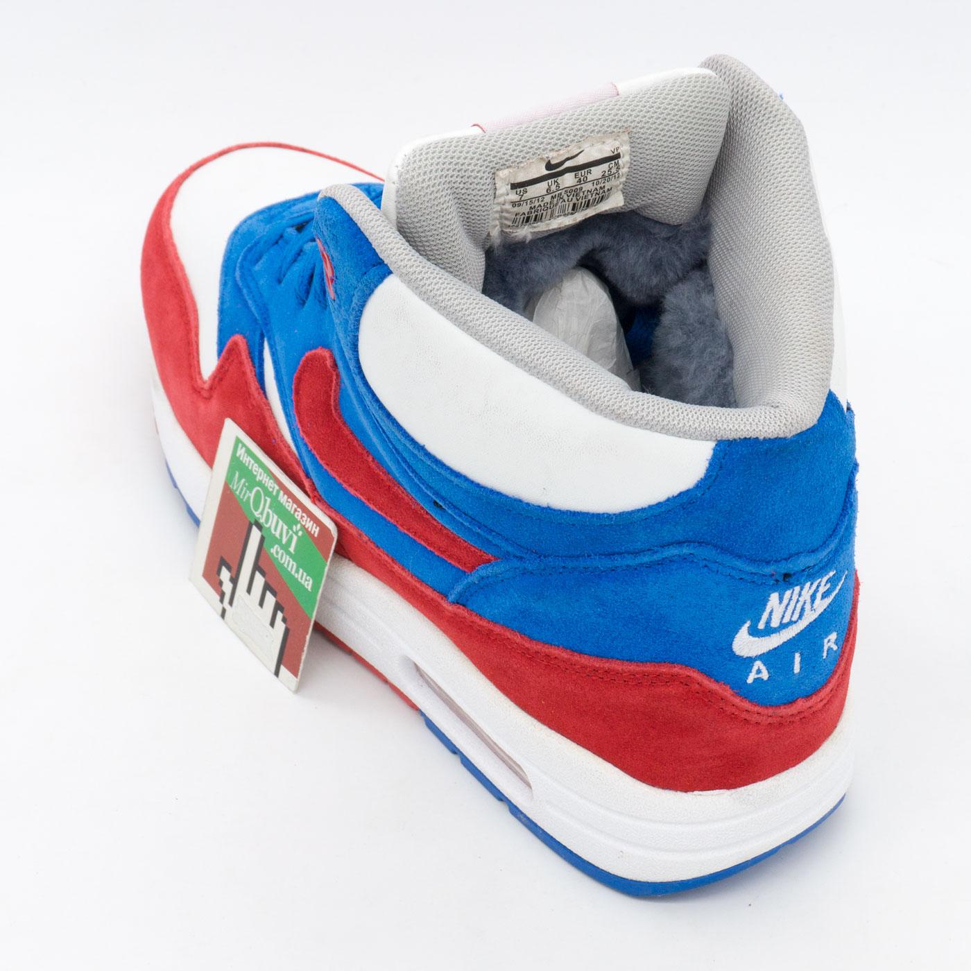 фото front Зимние кроссовки Nike air max 87 бело с мехом бело-сине-красные front