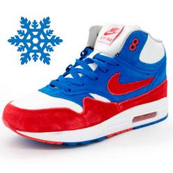 Зимние кроссовки Nike air max 87 бело с мехом бело-сине-красные