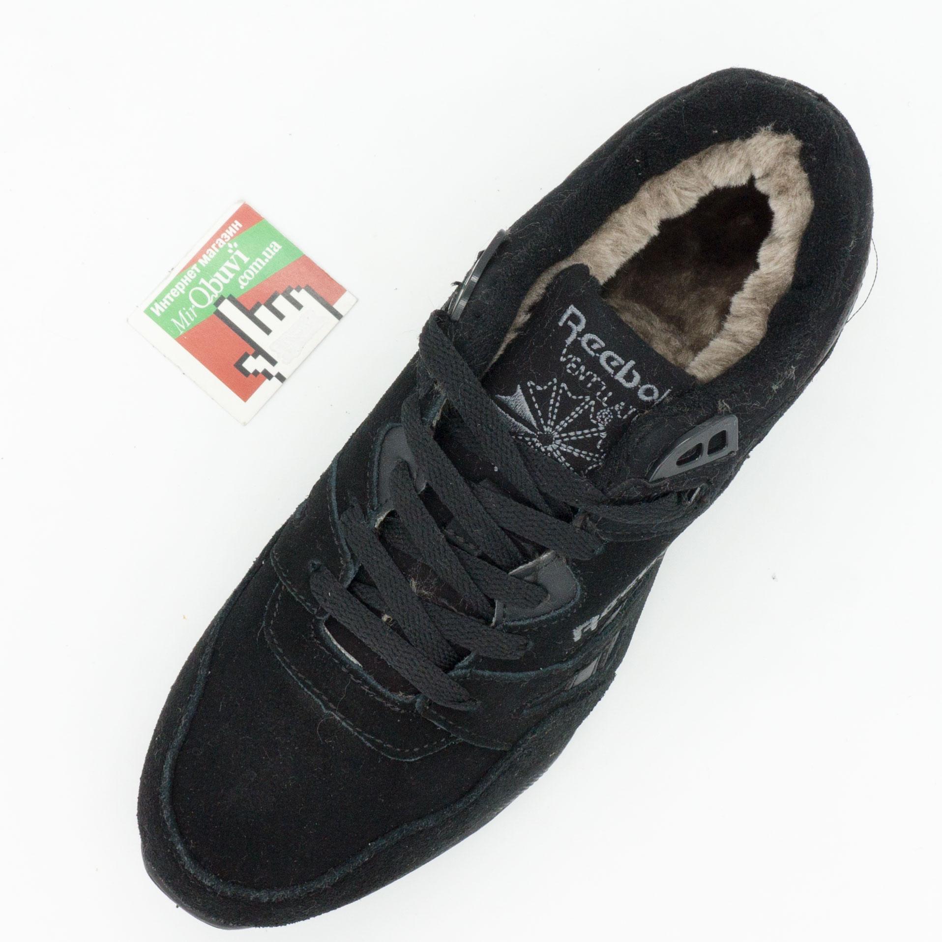 фото bottom Мужские зимние кроссовки Reebok hexalite полностью черные с мехом  (натуральная замша) bottom