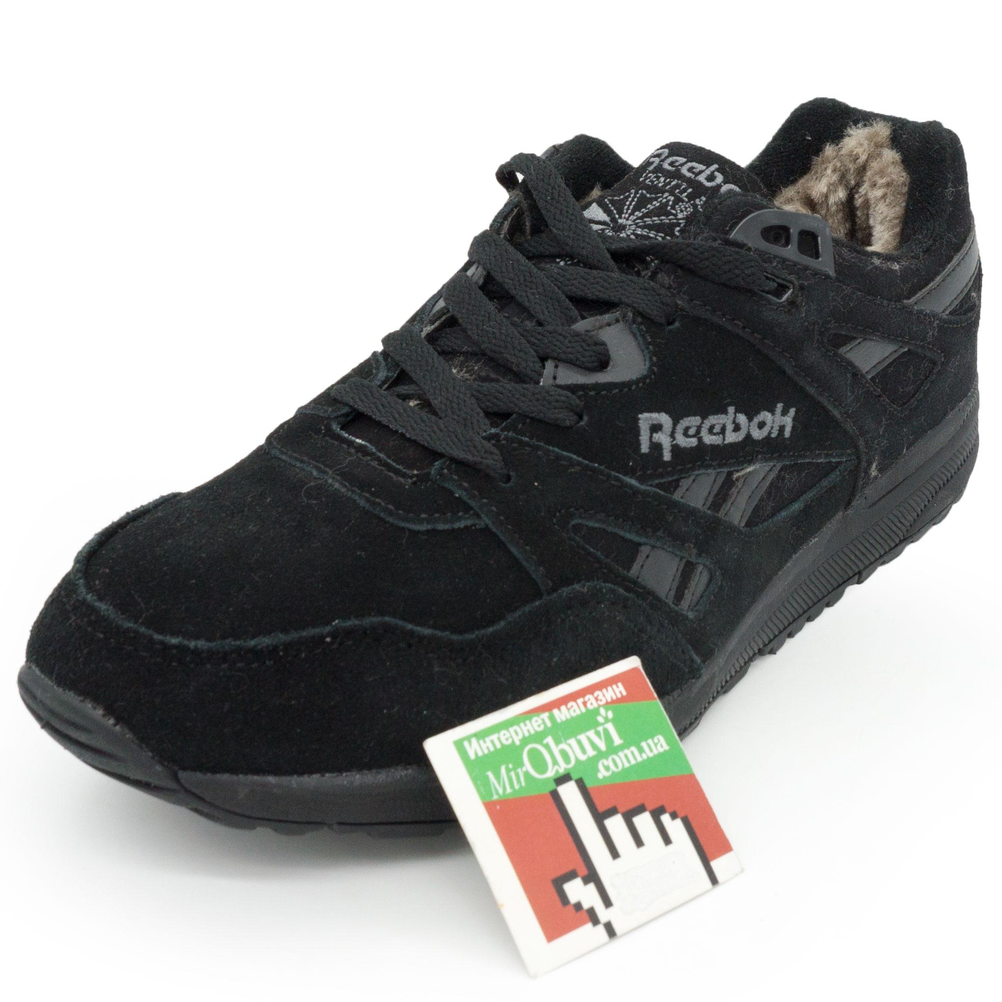 фото front Мужские зимние кроссовки Reebok hexalite полностью черные с мехом  (натуральная замша) front