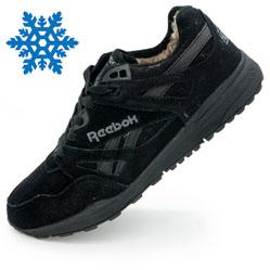 Мужские зимние кроссовки Reebok hexalite полностью черные с мехом  (натуральная замша)