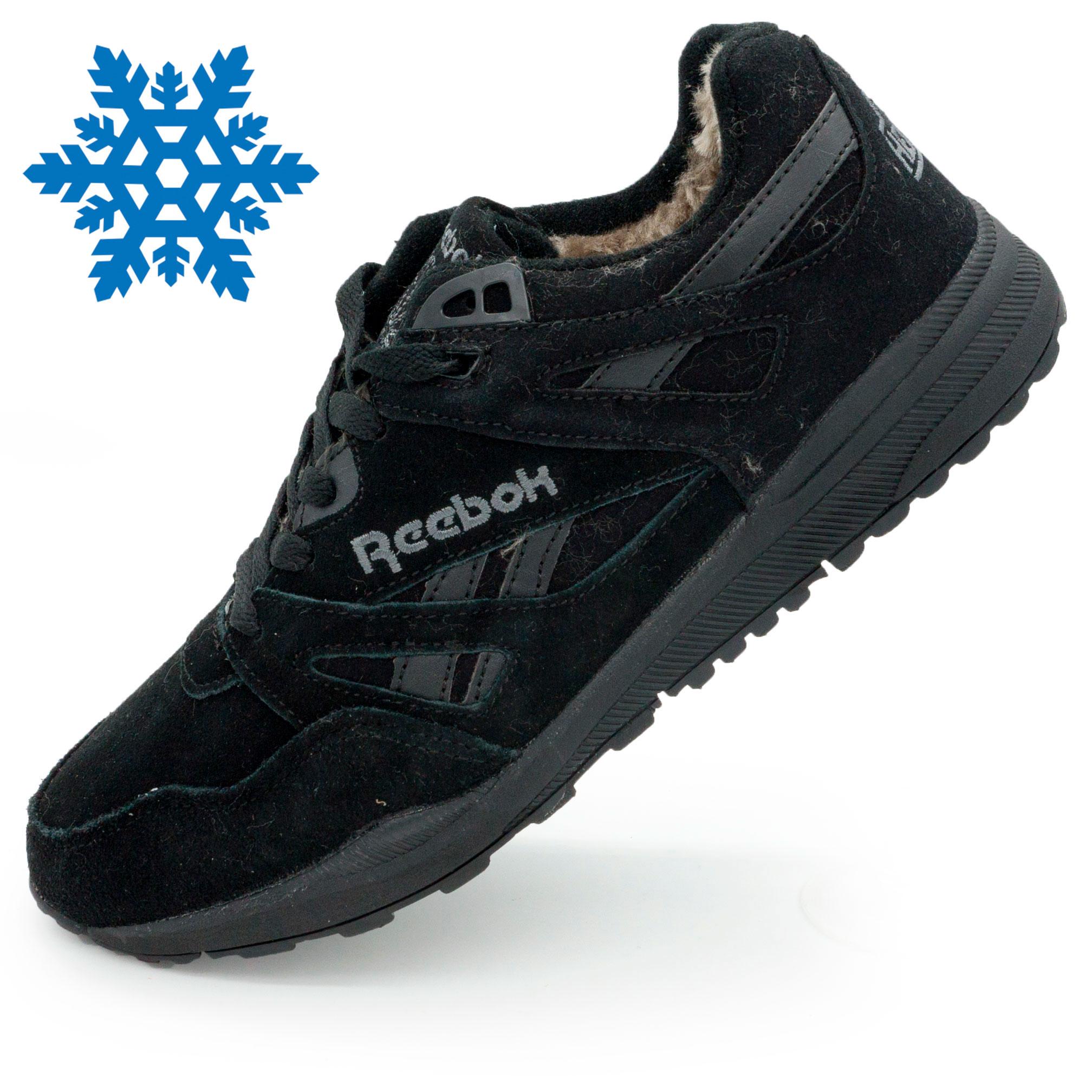 фото main Мужские зимние кроссовки Reebok hexalite полностью черные с мехом  (натуральная замша) main
