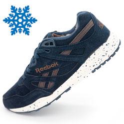 Мужские зимние кроссовки Reebok hexalite синие с мехом  (натуральная замша)