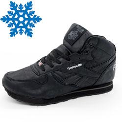 Мужские зимние кроссовки Reebok classic полностью черные с мехом
