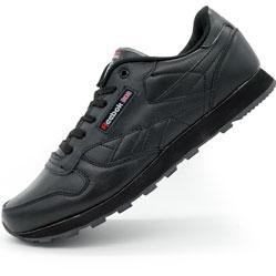 Женские кроссовки Reebok classic leather black (Рибок класик черные, кожа)