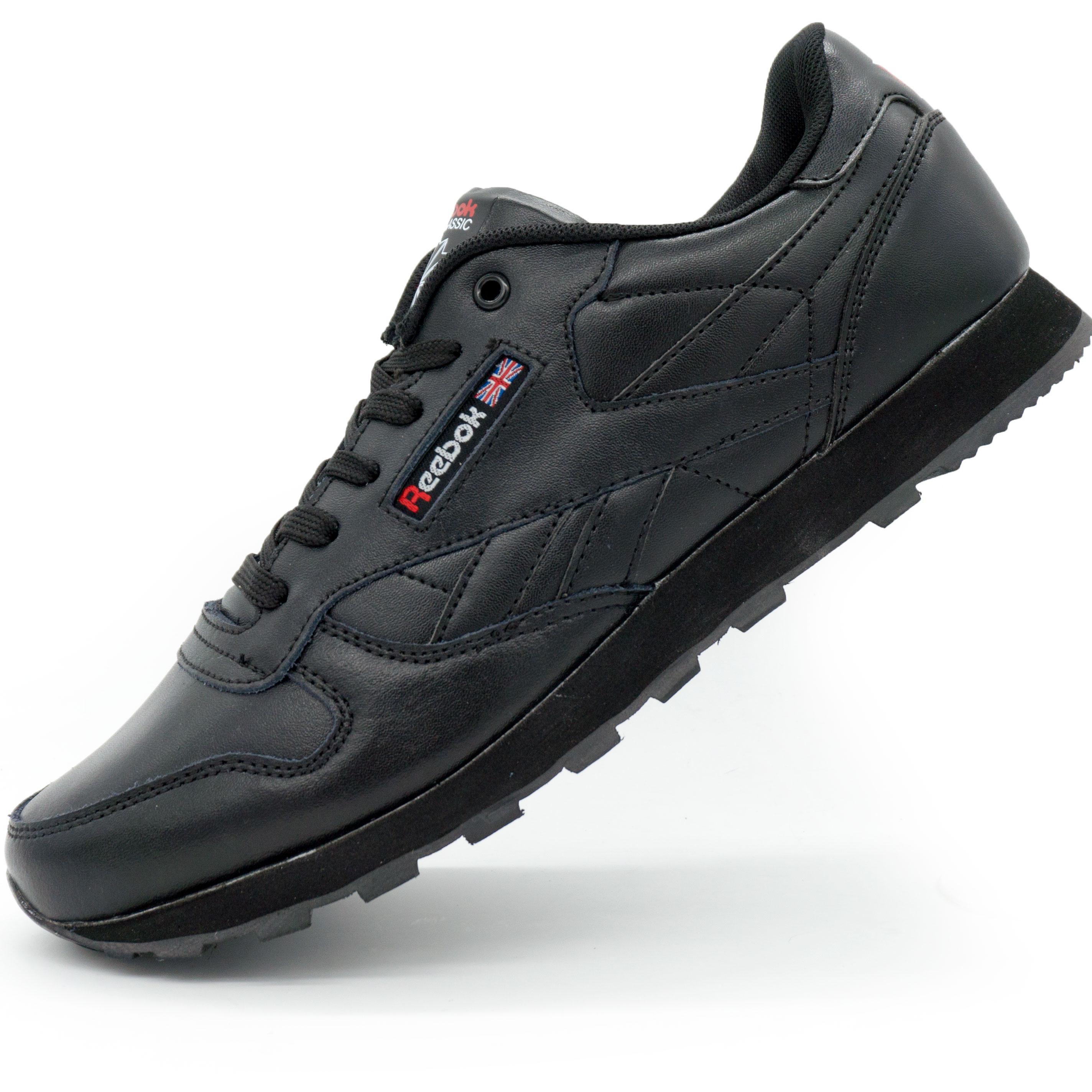фото main Женские кроссовки Reebok classic leather black (Рибок класик черные, кожа) main