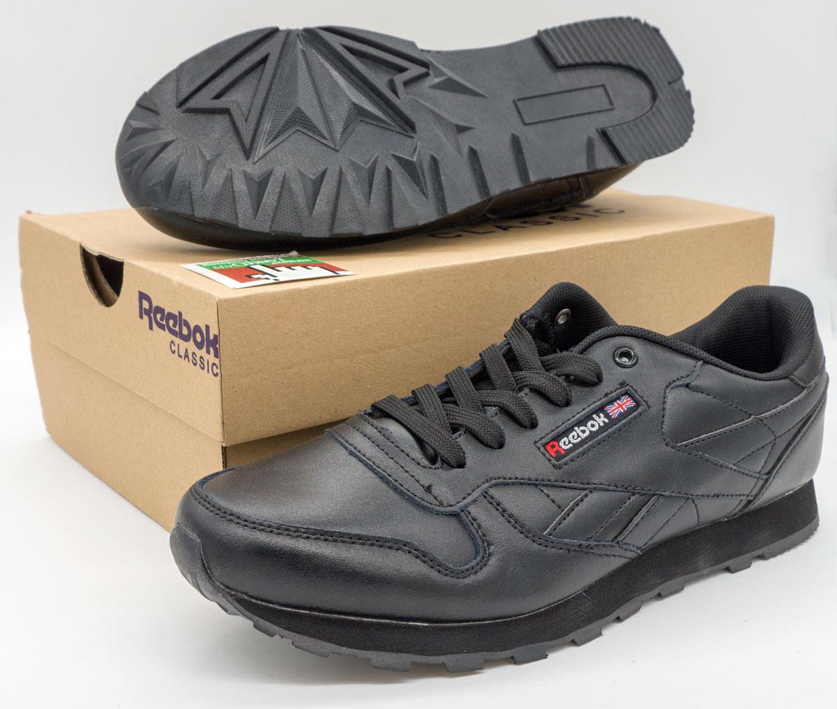 большое фото №6 Женские кроссовки Reebok classic leather black (Рибок класик черные, кожа)