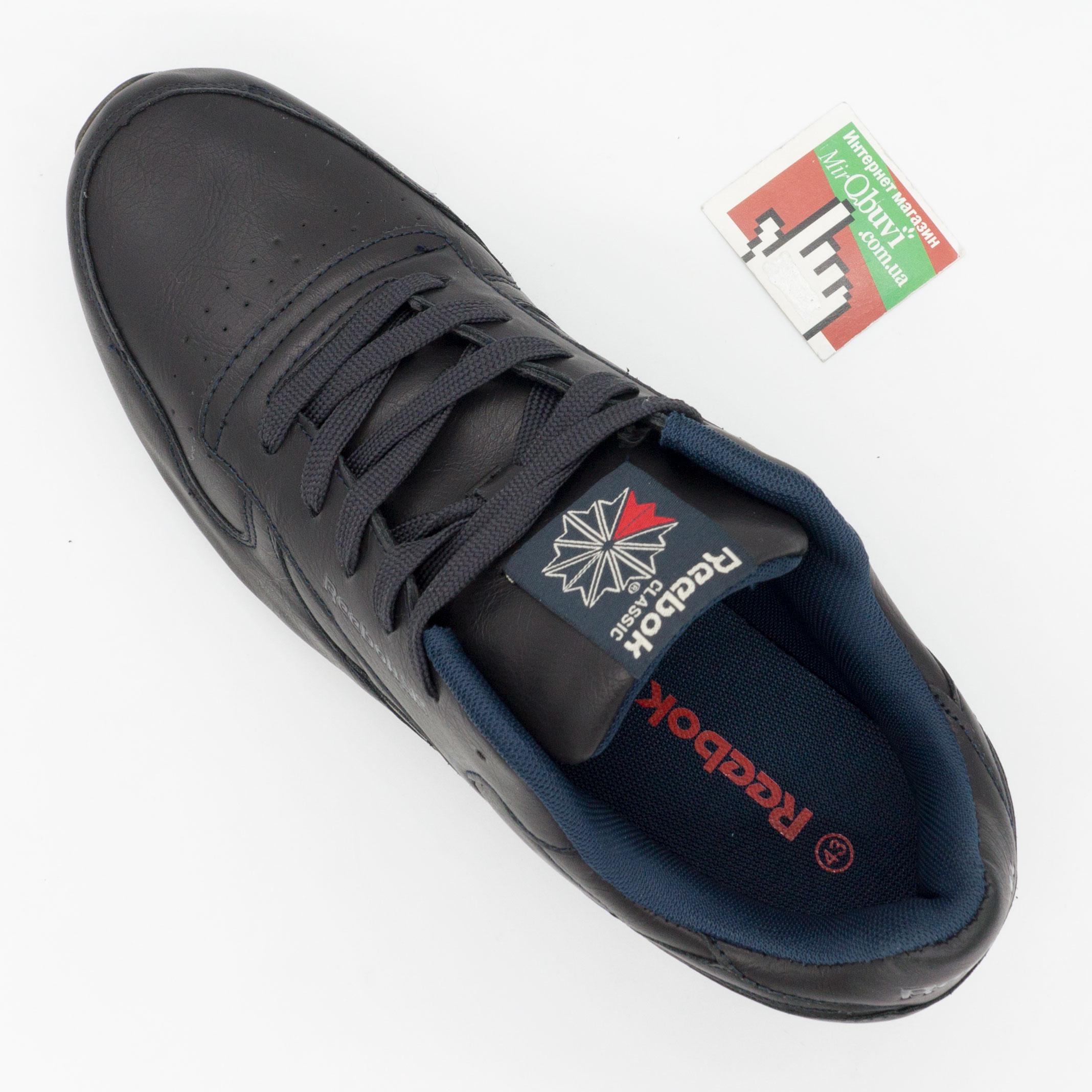 фото bottom Мужские кожаные кроссовки Reebok classic dark blue (Рибок класик темно синие, кожа) bottom
