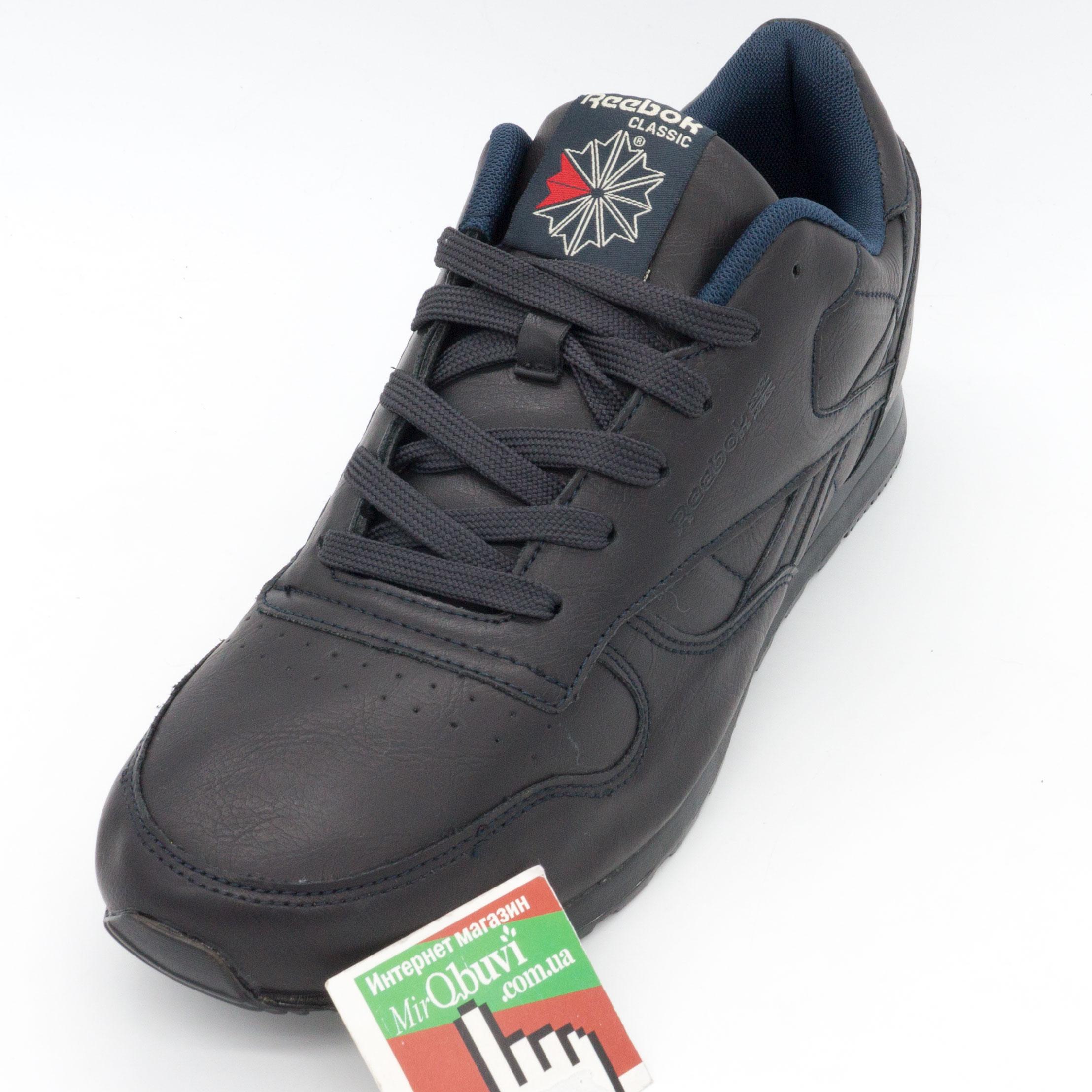фото front Мужские кожаные кроссовки Reebok classic dark blue (Рибок класик темно синие, кожа) front