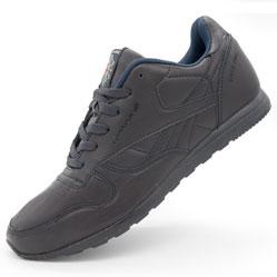 Мужские кожаные кроссовки Reebok classic dark blue (Рибок класик темно синие, кожа)