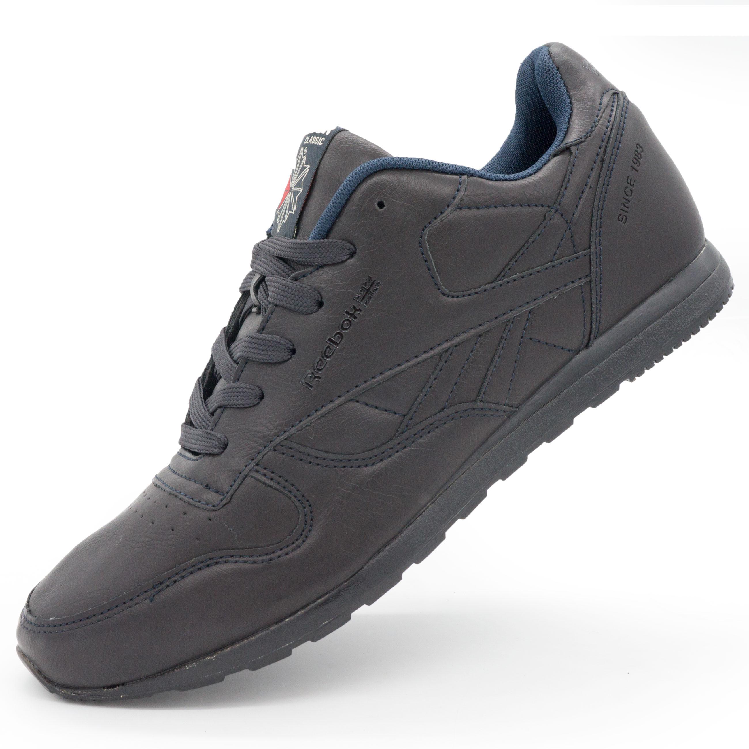 фото main Мужские кожаные кроссовки Reebok classic dark blue (Рибок класик темно синие, кожа) main