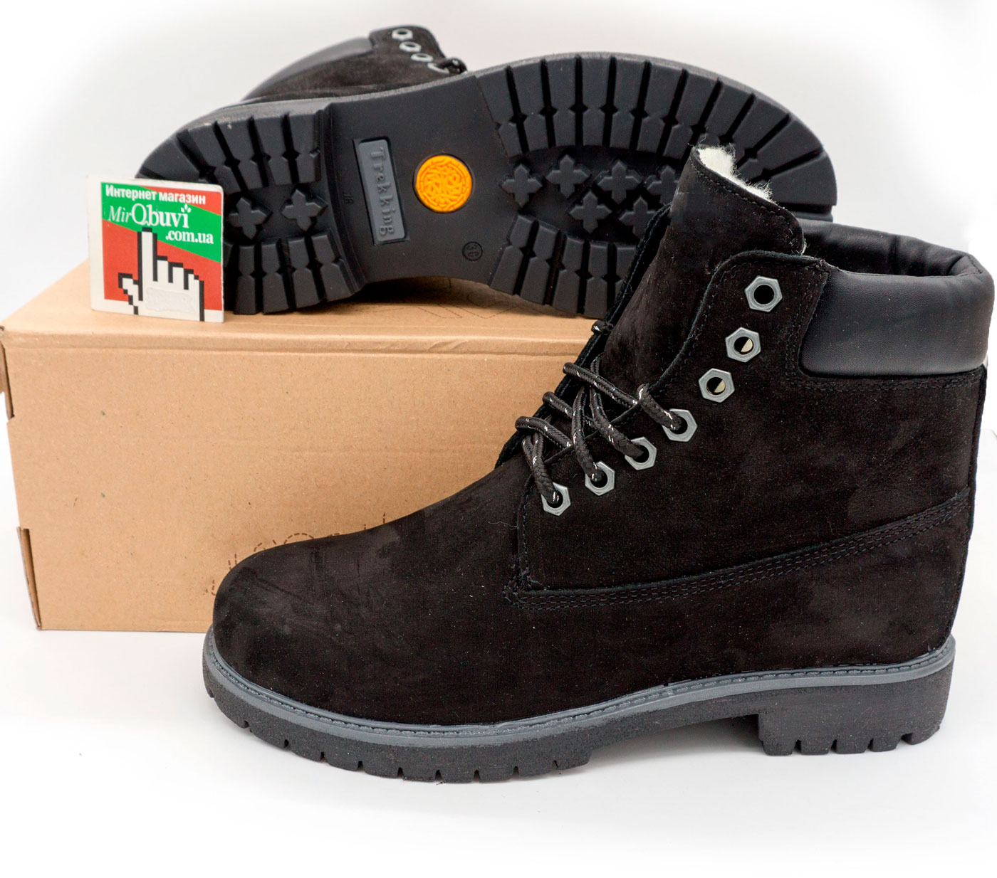 фото back Черные ботинки Реплика Timberland 102 (сделано в Украине) back