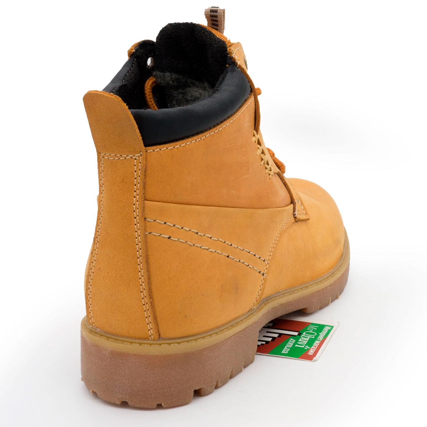 фото front Желтые кожаные женские ботинки Реплика Timberland 101 (Тимберленд)  front