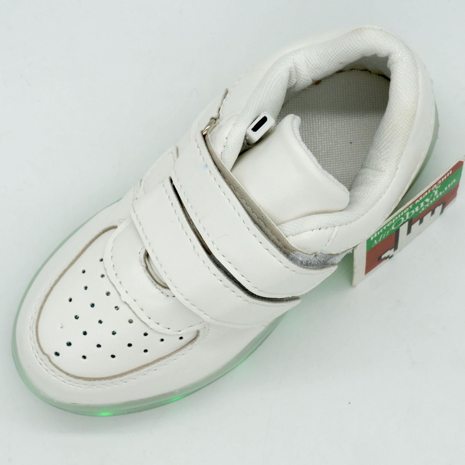 фото back Белые светящиеся кроссовки Led низкие на липучке back