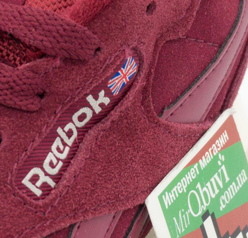 большое фото №6 Женские кроссовки Reebok classic бордовые(Рибок класик натуральная замша)