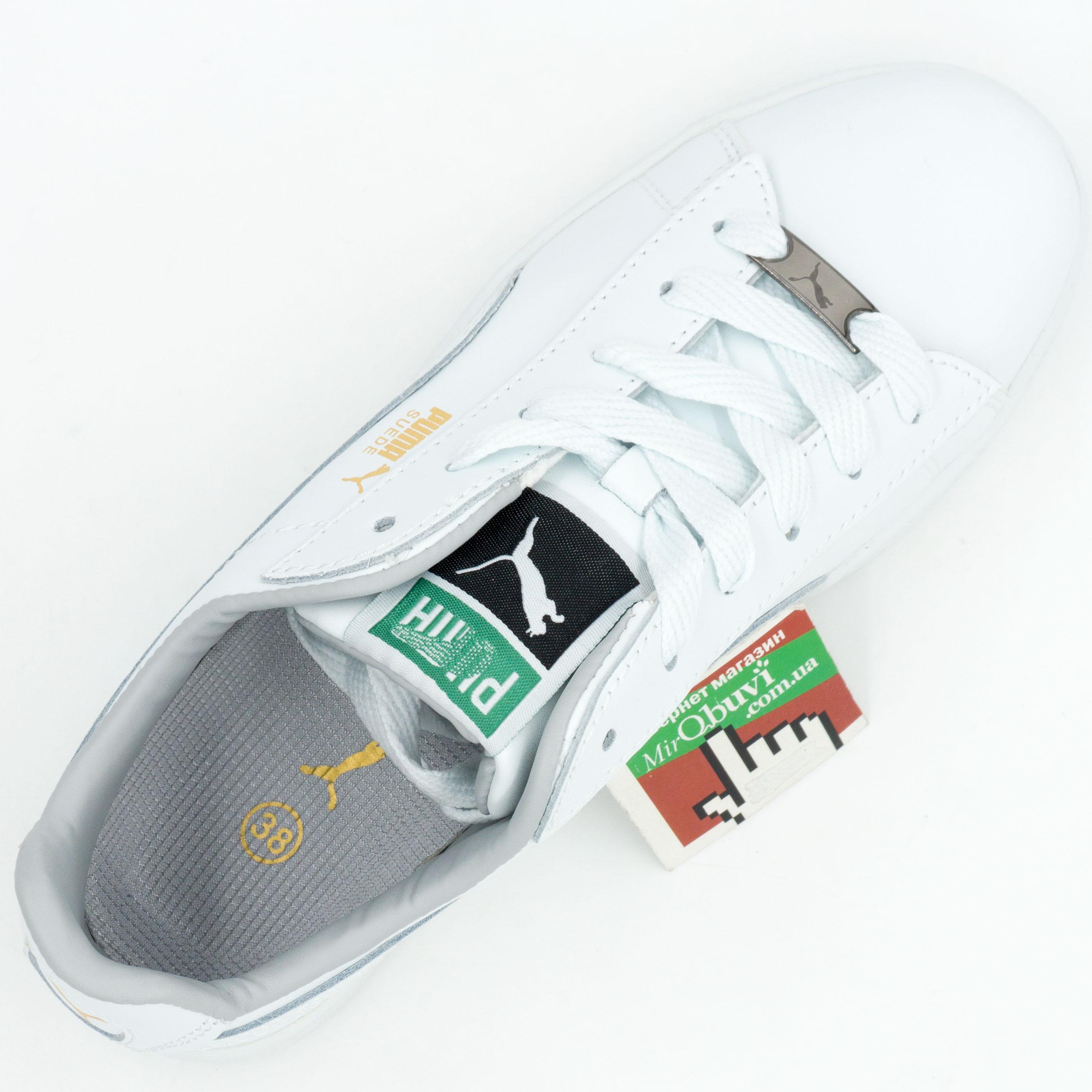 фото bottom Женские кроссовки Puma Suede classic белые bottom