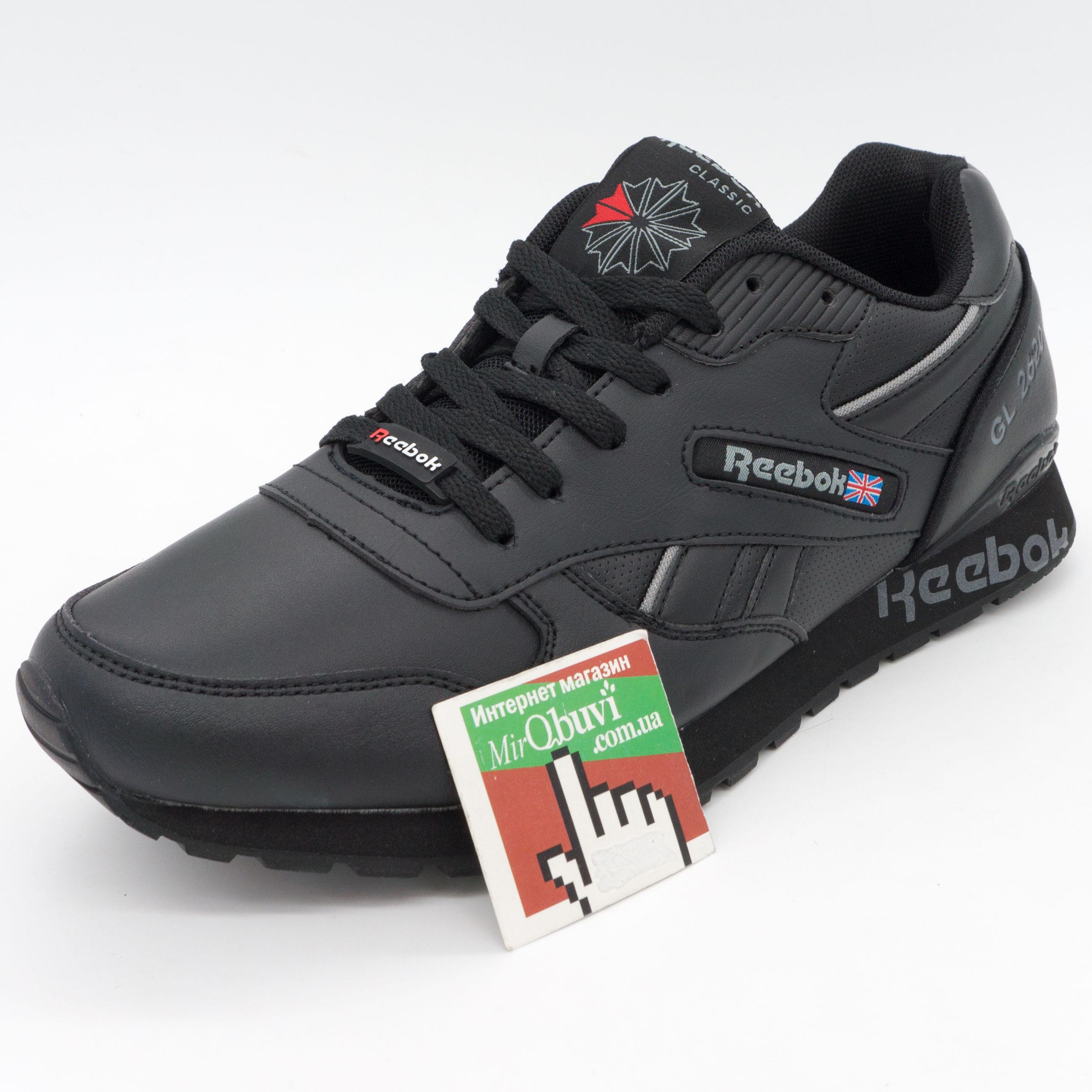 фото back Мужские кожаные кроссовки Reebok classic GL 2620 (Рибок класик черные) back