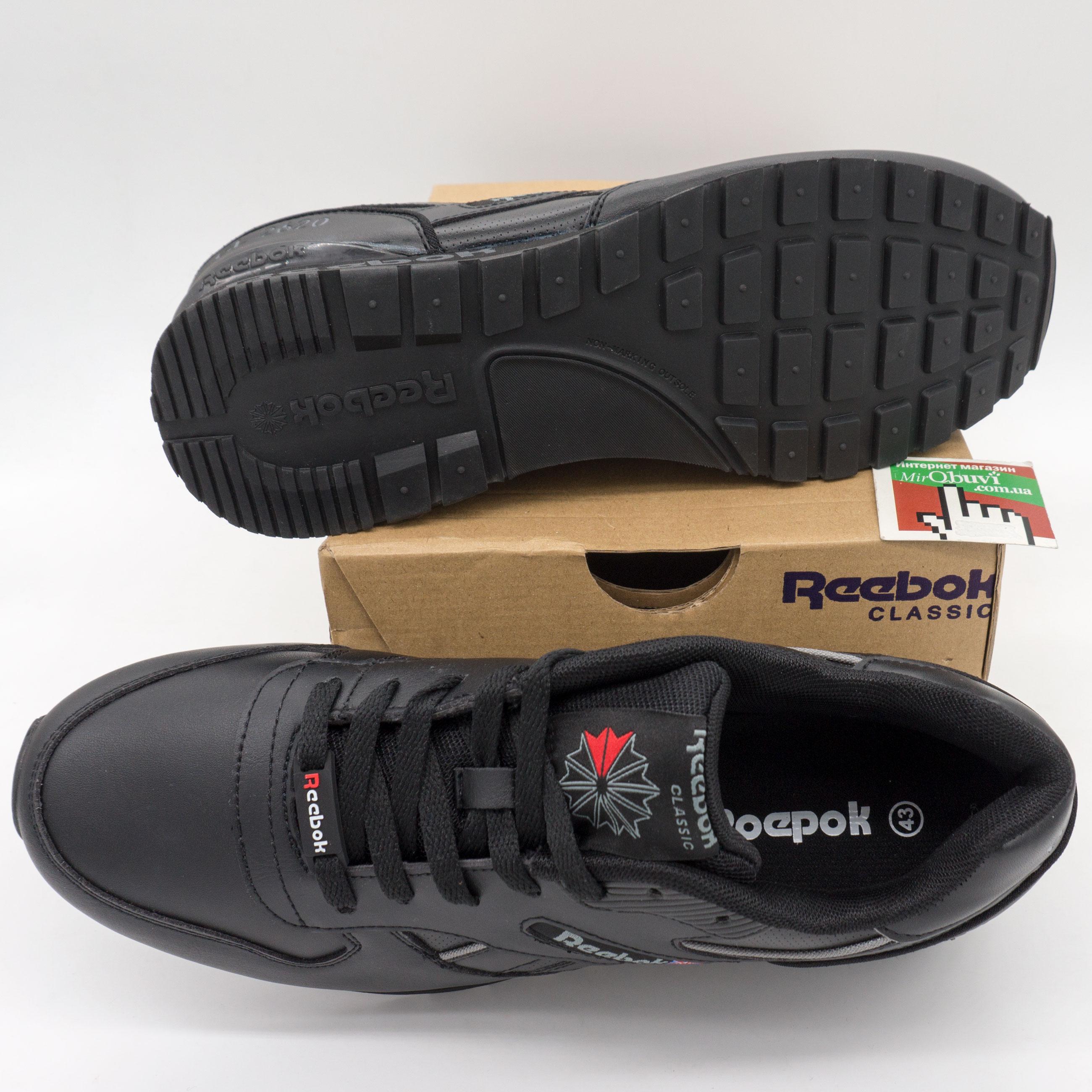 фото front Мужские кожаные кроссовки Reebok classic GL 2620 (Рибок класик черные) front