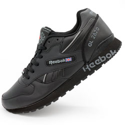 Мужские кожаные кроссовки Reebok classic GL 2620 (Рибок класик черные)