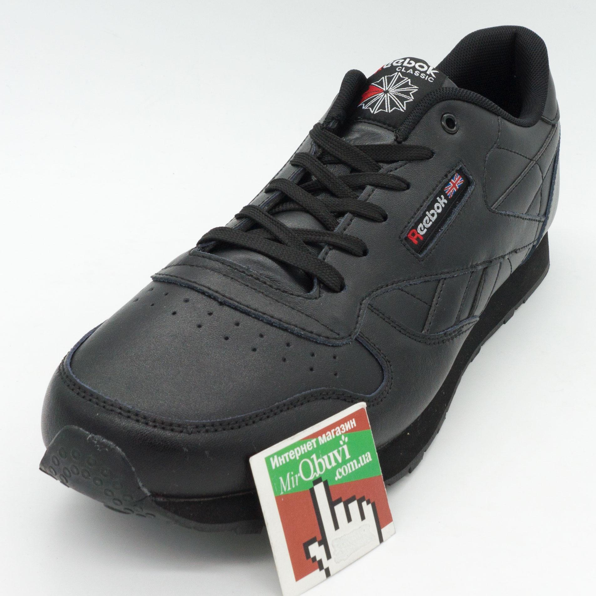 фото front Мужские кожаные кроссовки Reebok classic leather black (Рибок класик черные, кожа) большие размеры front