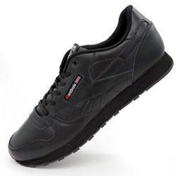 Мужские кожаные кроссовки Reebok classic leather black (Рибок класик черные, кожа) большие размеры