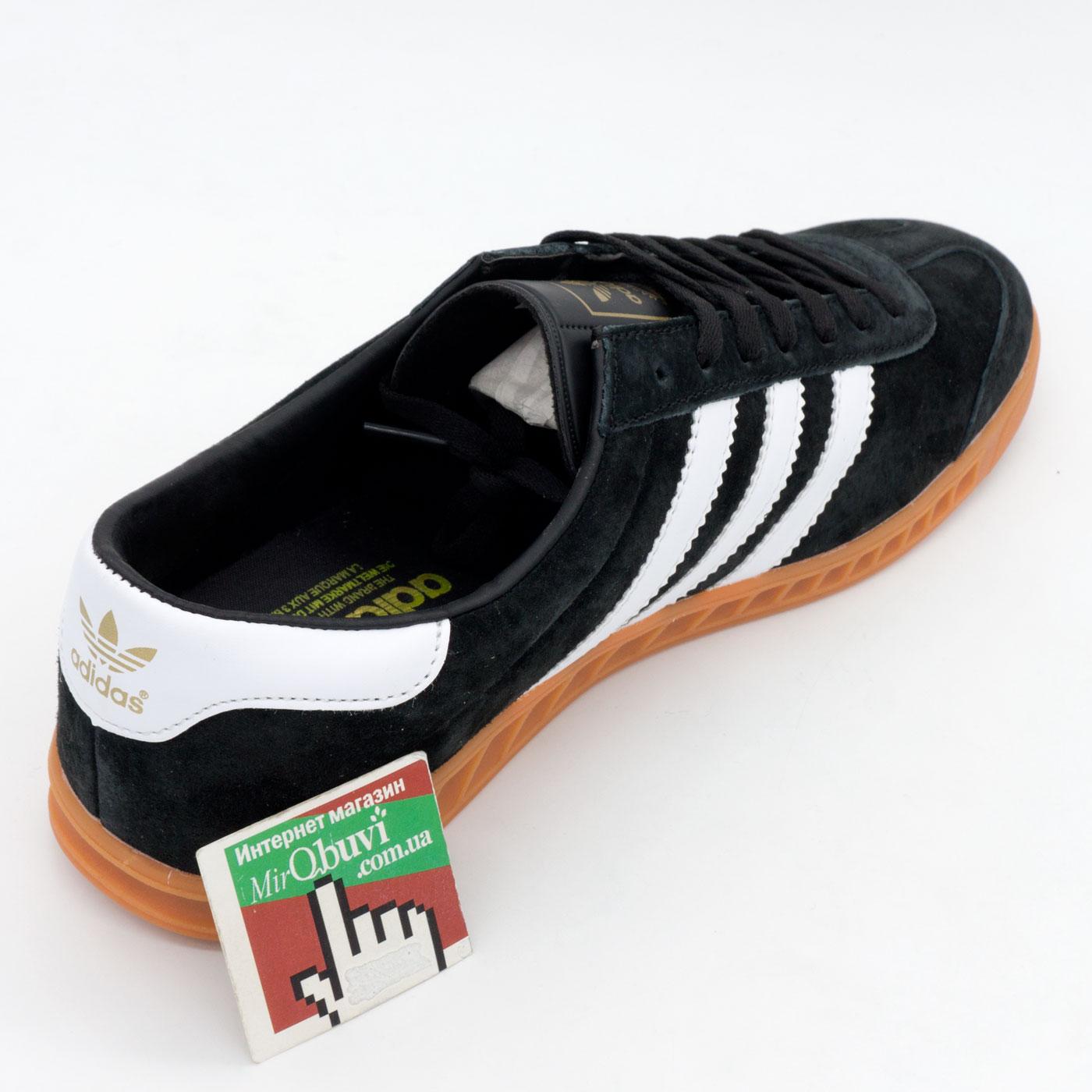 фото back Кроссовки Adidas Hamburg черные с рыжей подошвой back