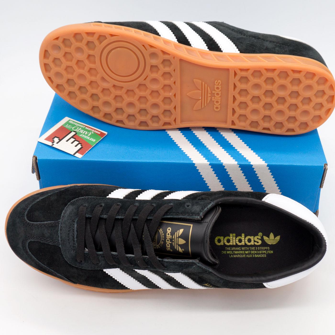 фото bottom Кроссовки Adidas Hamburg черные с рыжей подошвой bottom
