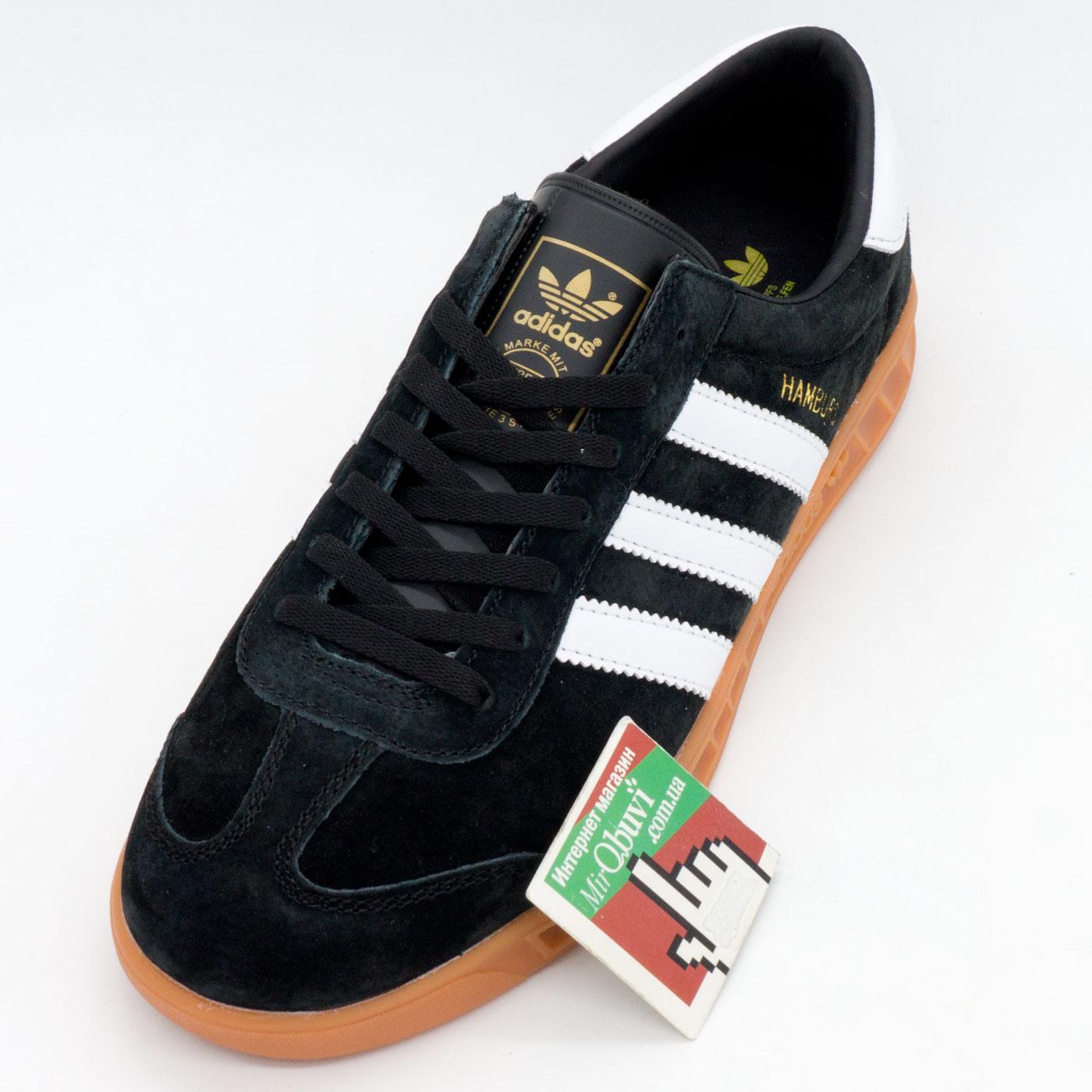 фото front Кроссовки Adidas Hamburg черные с рыжей подошвой front