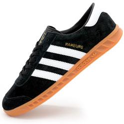 Кроссовки Adidas Hamburg черные с рыжей подошвой