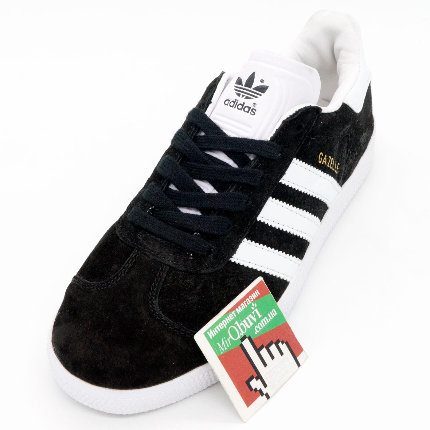 фото front Черные кроссовки Adidas Gazelle натуральная замша, Vietnam - Топ качество! front
