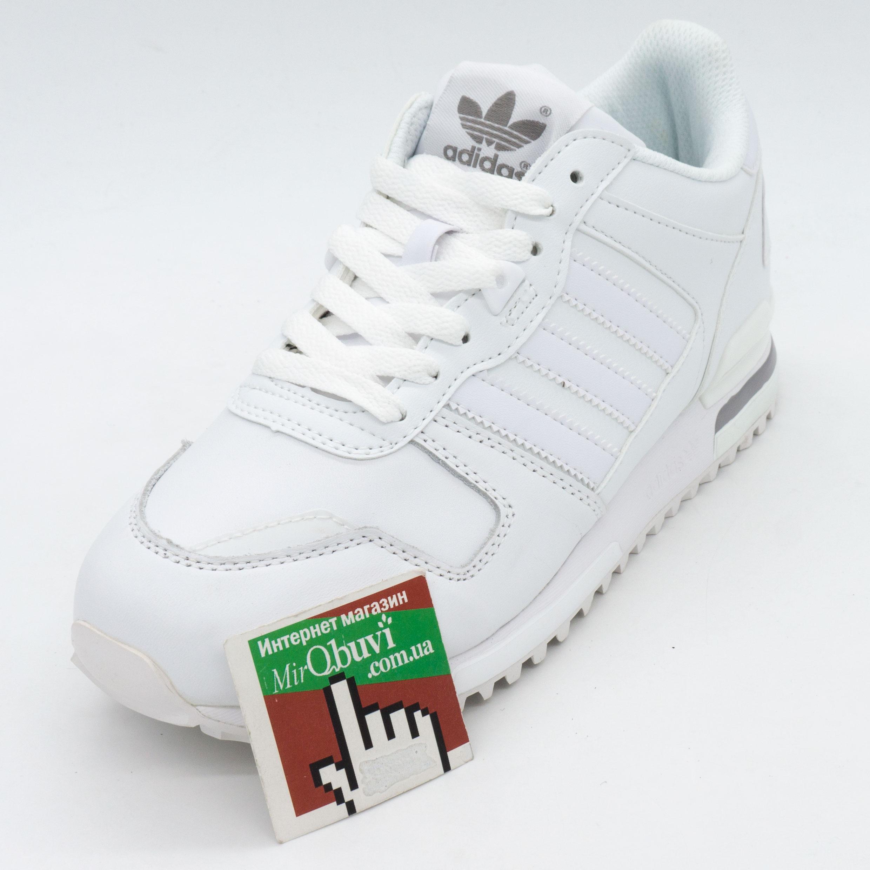 фото front Кожаные белые женские кроссовки Adidas zx700 - Топ качество! front