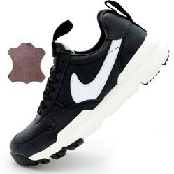 Мужские  кожаные черные кроссовки Nike Mars Yard 2.0. Топ качество!