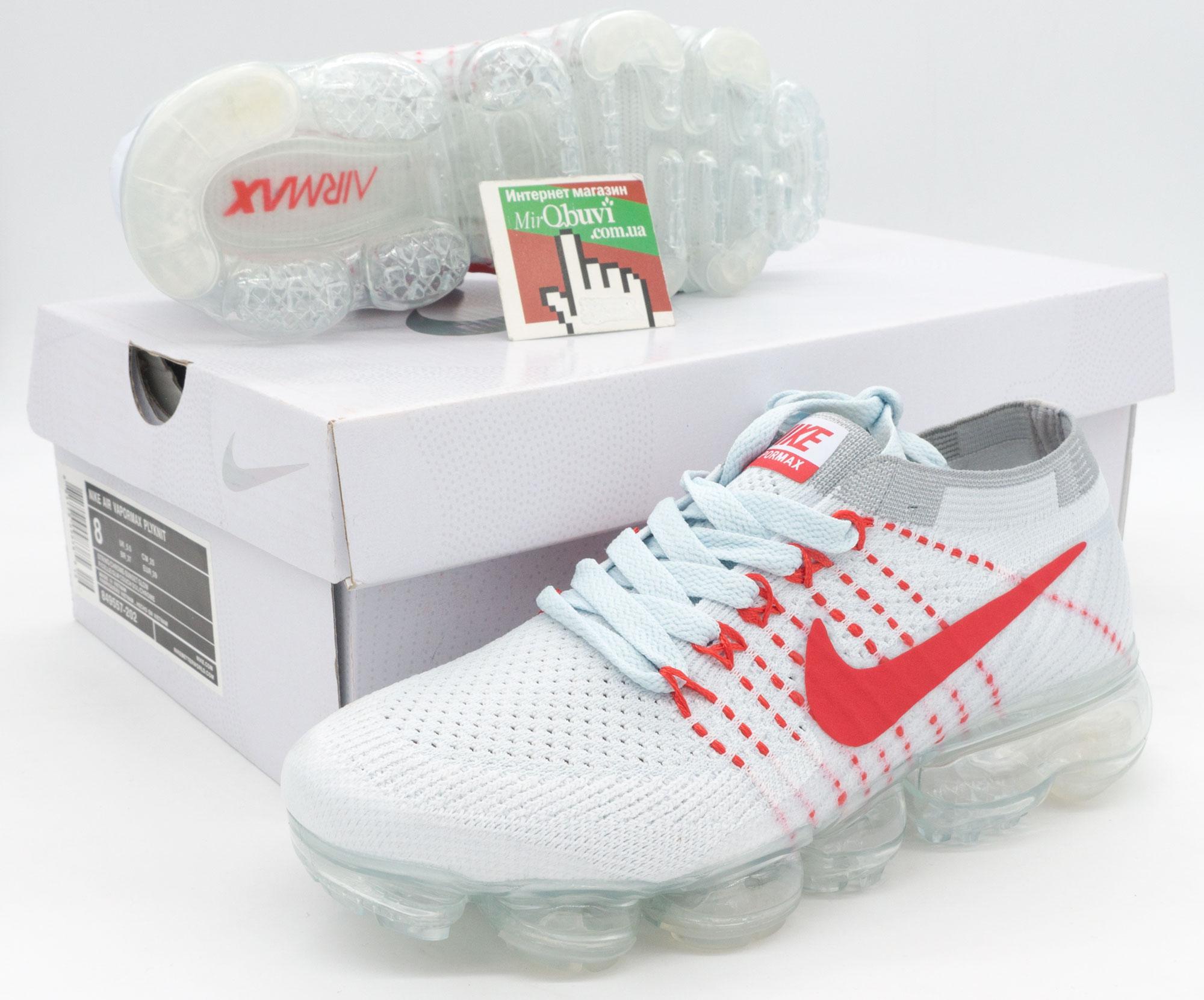 большое фото №5 Кроссовки для бега Nike Air VaporMax белые с красным. Топ качество!